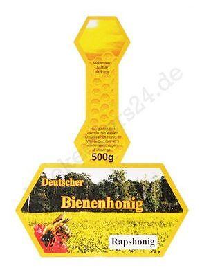 "Honig-Etikett, Stegetikett ""Rapshonig"", 500 g, 100 Stück, selbstklebend"