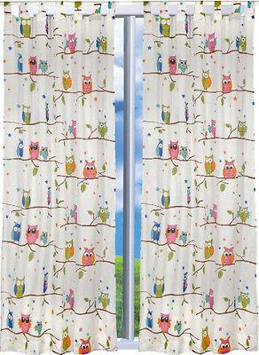 Süße Kinderzimmer Gardinen 2 x Vorhang Schal 245x140 cm NEU OVP Eule Eulen