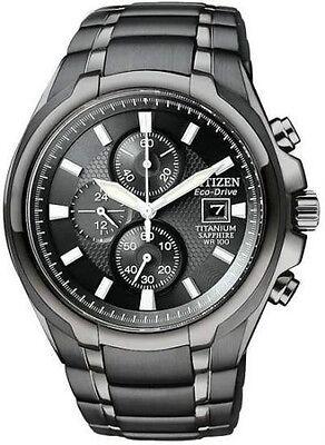 New Citizen Eco-Drive Chronograph Black Titanium Men's Watch CA0265-59E