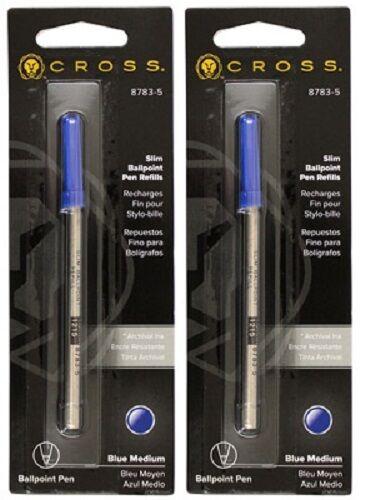 2 – CROSS Slim Ballpoint Pen Refills for Click Pens – Blue Medium Collectibles