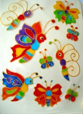 Window Color-Lustige Fenster& Fliesendeko-Aufkleber 8 süsse bunte Schmetterlinge