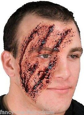 Halloween Shredded Face Zombie Special Effects Make Up Fancy Dress Costume Kit