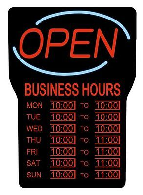 Royal Sovereign Led Open With Business Hours Sign English - Open Business