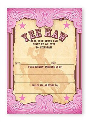 Cowgirl Party Invitations (Cowgirl Party LARGE Invitations - 10 Invitations + 10)