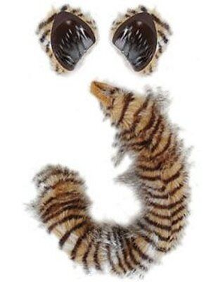 Cat Costume Kit Ears Tail Tiger Lynx Striped Adult Kids Child Furry Black Orange (Cat Tiger Costume)