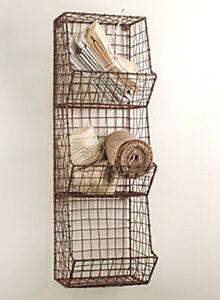 New Primitive Farmhouse Sm. Wire Wall Basket Market Bin Shelf Cubby Organizer