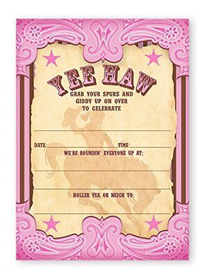 Cowgirl Party Invitations (Cowgirl Party LARGE Invitations - 20 Invitations + 20)