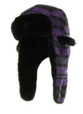New Era Poptrap Grape Trapper Buffalo Plaid Purple Dogear Hat Cap Down Ear Flap Plaid Hat Earflap