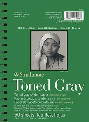 """Strathmore Gray Drawing 400 Series Toned Sketch Pad 5.5""""x8.5"""" 50 Sheets"""