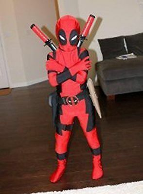 Kids Boys Child Deadpool Zentai Superhero Costume Cosplay Fancy Dress Bodysuit@