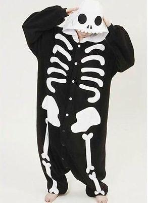 Skeleton Kigurumi Anime Cosplay Pyjamas Costume Adult Onesie1 Fancy Dress UK  - Adult Skeleton Onesie