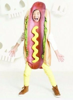 Kids Hot Dog Costume Large/ XL Youth Hotdog Food  Dress Up Outfit Halloween New