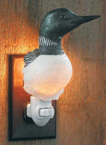 Wild Wings Loon Bird Wall Night Light Lodge Cabin Decor US plug