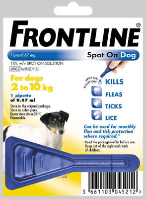 Frontline Spot On Small Dogs Flea  2 -10kg 1 Pipette Same Day Dispatch Free Post
