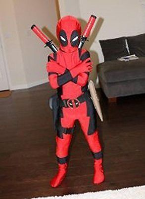 Kids Boys Child Deadpool Zentai Superhero Costume Cosplay Fancy Dress Bodysuit