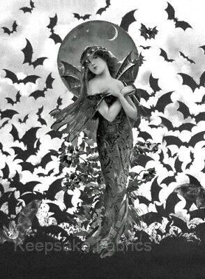 Crazy Ladies Costumes (Fantasy Bat Lady Crazy Quilt Fabric Block Multi Sizes FrEE ShiPPinG WoRld)