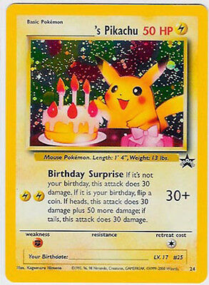 BIRTHDAY PIKACHU - Holofoil Pokemon Promo Card # 24 From the WOTC Mail Giveaway