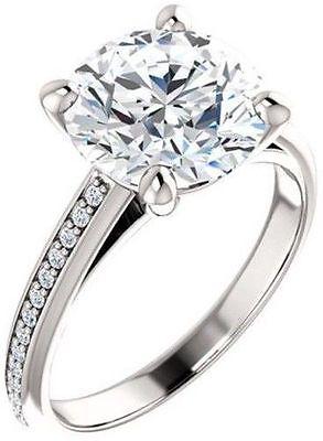 GIA 1.50 carat center Round Diamond Engagement 14k White Gold Ring F VS1 1.63 ct