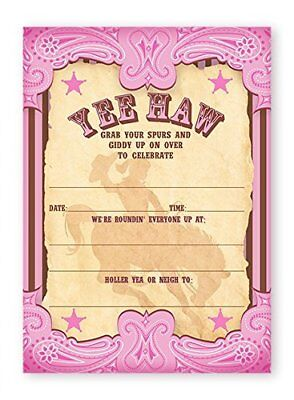 Cowgirl Party Invitations (Cowgirl Pink Party LARGE Invitations - 10 Invitations + 10)