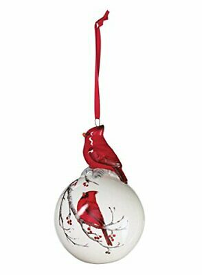 "Christmas Tree Ball Ornament with Decorated Red Cardinal on Top 4.75"" White"