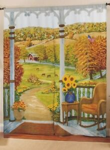 NEW Window Art Mural Drapes American Heartland Panels 72 x 84 Finish