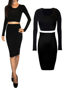 New Womens Plain Bodycon Pencil High Waisted Ladies Stretch Midi Skirt-lng wigl