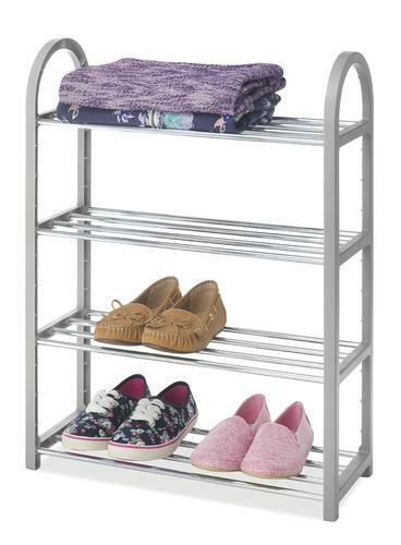 Whitmor Paloma Gray Compact Closet Shelves 4 Tier Storage Organizer
