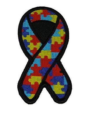 PUZZLE PIECE MULTI COLORED RIBBON FOR AUTISM AWARENESS PATCH ](Autism Ribbon Color)