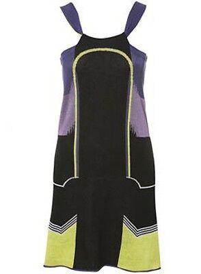 TOPSHOP LOUISE GOLDIN PURPLE BLACK YELLOW KNIT BLOCK ART DRESS L 10 12 14