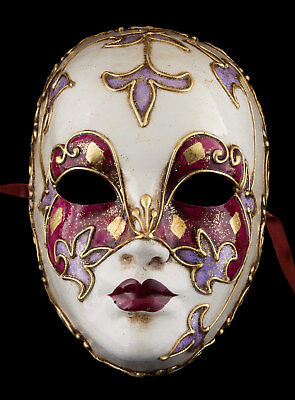 Mask from Venice Face Volto Pink Violet Paper Mache Gold Embellishment 1761 VG1