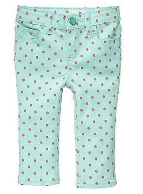 Baby Gap Toddler Girls 1969 Skimmer Mini Skinny Aqua Pink Dot Jeans NWT 12-18 Mo on Rummage