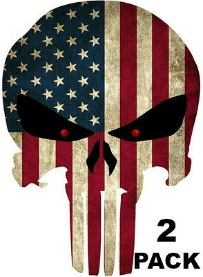 Skull Vinyl Graphic Decal ((TWO) PUNISHER AMERICAN USA SNIPER COLOR FLAG SKULL DIE CUT VINYL DECAL STICKER  )