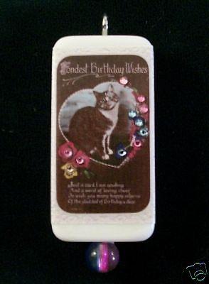 Happy  Birthday Wishes   Cat Domino Pendant