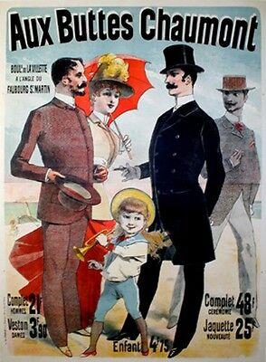 Original Vintage Poster Aux Buttes Chaumont by Jules Cheret 1888 Fashion Men