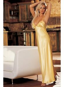 Sexy Elegant Yellow Satin Glam Long gown night Dress