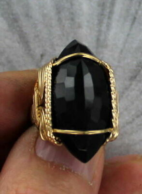 Black Onyx Gemstone Ring in 14kt Rolled Gold Wire (14kt Gold Handmade Ring)