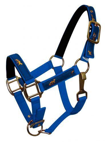 BLUE HORSE Size 2 Ply Nylon Halter w// Running Horse Overlay! NEW HORSE TACK!!