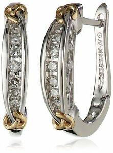 Pair Of New Sterling Silver & 14K Yellow Gold Diamond Earrings