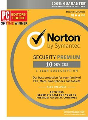 Norton Security Deluxe 2018 for 10 Devices PC Mac Android iOS Box (Key Card)