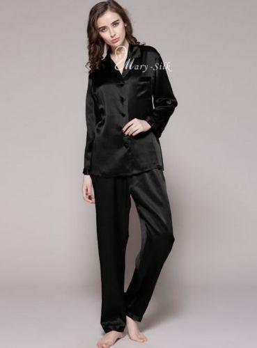 Black Silk Pajamas: Black Satin Pajamas: Sleepwear & Robes