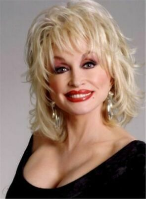 Dolly Parton Sexy Light Blond Medium Vintage Chic Hair Synthetic Capless  - Dolly Parton Wigs