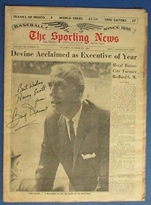 Bing Devine Autographed Signed The Sporting News 1964 Newspaper Magazine Jsa