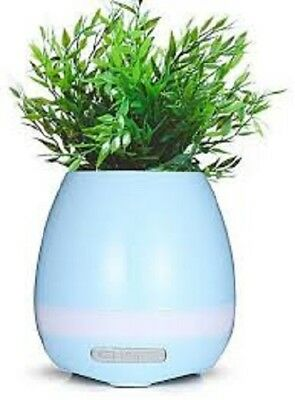Bluetooth Speaker Smart Music Flower Pot PATHONOR w/ LED Night Light Touch BLUE