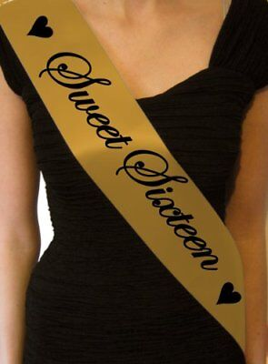Sweet Sixteen Party (Sweet Sixteen Gold Birthday Sash Present 16th Sashes Hearts Gift Cheap Party)