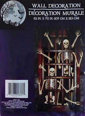 Halloween Dungeon Scene Setters (HALLOWEEN party Scene Setter Skeleton dungeon jail door/wall 6 ft walking)