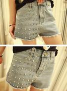 High Waisted Studded Jean Shorts