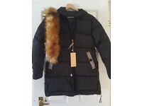 Ladies QUILTED WINTER COAT with removable Fur Collar and Hood, new with tags