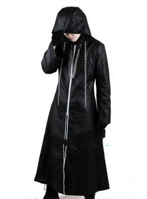 Hot Kingdom Hearts 2 Organization XIII Outfit Coat Hoodie Cosplay Costume Black - Kingdom Hearts Outfits