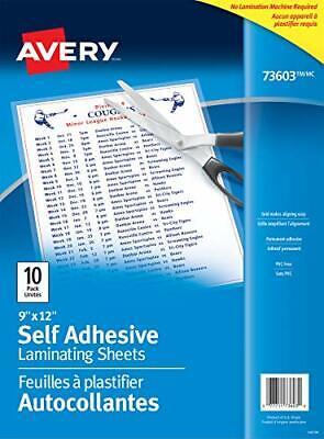 Avery Self-adhesive Laminating Sheets 9 X 12 Permanent Adhesive 10 Sheets