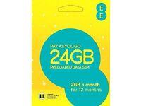 EE 24GB Data sim 12 x 2 gig you get 2 gig of 4g data per month for one year